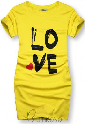 Tunika s potlačou LOVE žltá