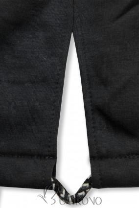 Čierna mikina s dvojcestným zipsom