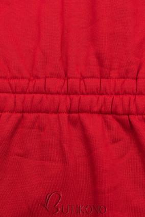 Červená mikina s tvarovaným pásom