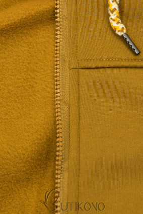 Mustard mikina s tvarovaným pásom