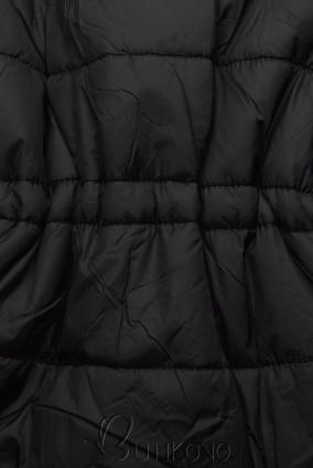 Čierna/hnedá obojstranná bunda s výplňou