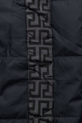 Tmavomodrá/sivá obojstranná bunda s výplňou
