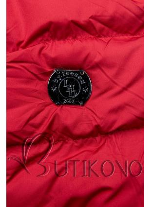 Červená zimná bunda so sťahovaním v páse