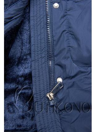 Tmavomodrá zimná bunda so sťahovaním v páse