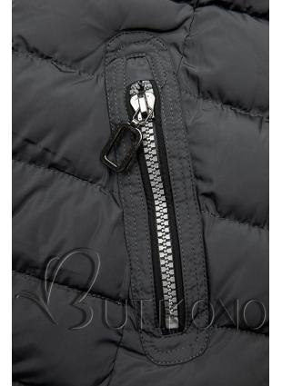 Zimná prešívaná bunda s kapucňou tmavosivá