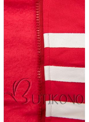 Červená tepláková súprava s kontrastnou kapucňou