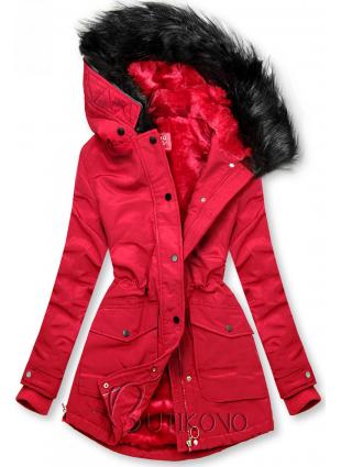 Červená bunda zateplená plyšom