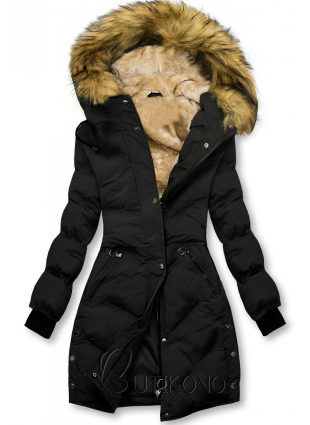 Čierna prešívaná zimná bunda