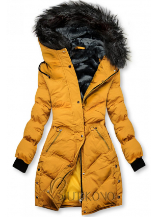 Žltá prešívaná zimná bunda