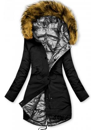 Čierno-strieborná obojstranná zimná bunda