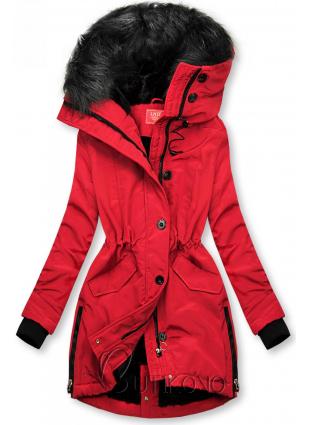 Červená zimná bunda s vysokým golierom