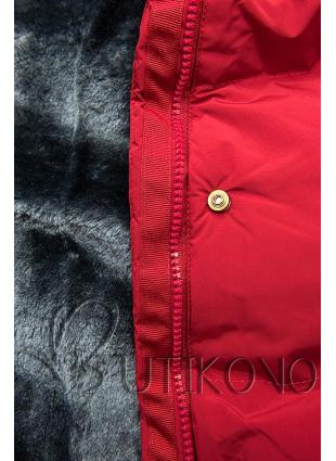 Červená zimná bunda s plyšovou podšívkou