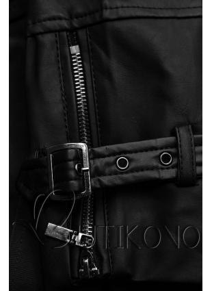 Čierny trenčkot s koženkovými rukávmi
