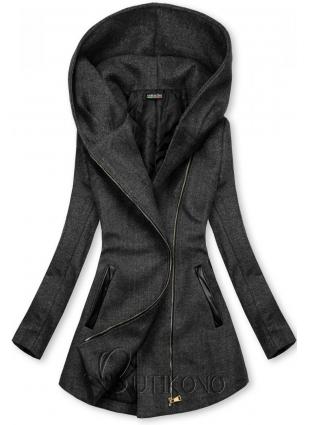 Grafitový kabát s koženkovými detailami