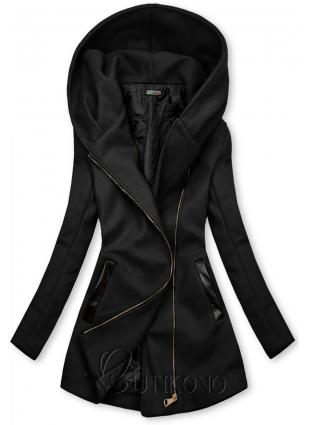Čierny kabát s koženkovými detailami