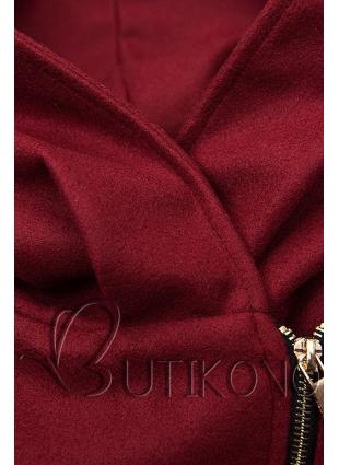 Bordový kabát s koženkovými detailami