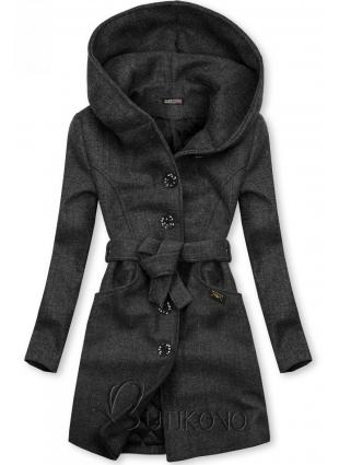 Grafitový kabát s kapucňou