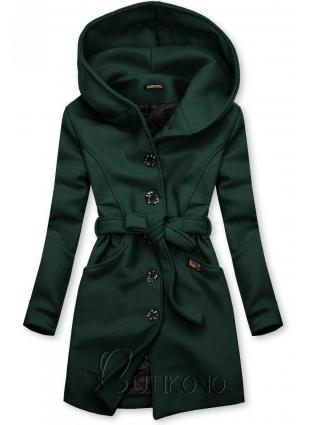 Zelený kabát s kapucňou