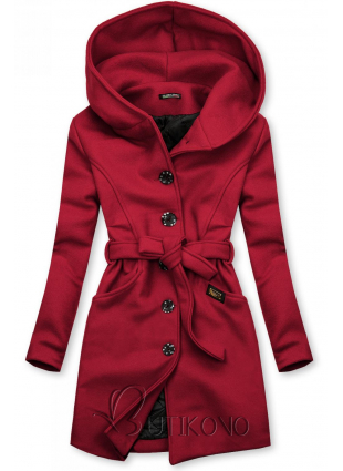 Bordový kabát s kapucňou