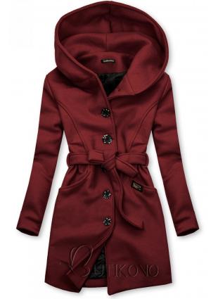 Škoricovohnedý kabát s kapucňou
