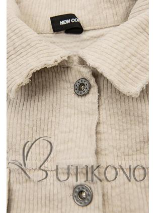 Krémovo biela menčestrová vrchná košeľa