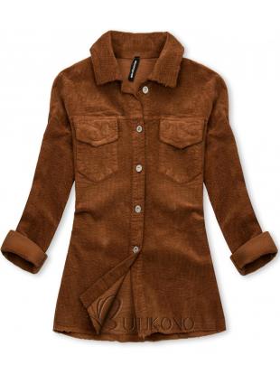 Hnedá menčestrová vrchná košeľa