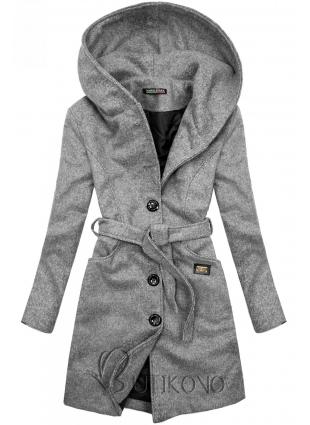 Sivý kabát s kapucňou
