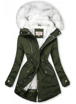 Zimná parka s odnímateľnou podšívkou khaki/biela