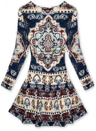 Modro-béžové vzorované šaty