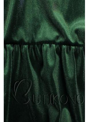 Zelené zamatové šaty s volánmi