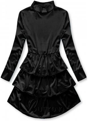 Čierne zamatové šaty s volánmi