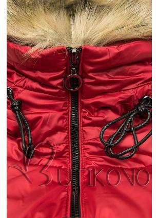 Červená lesklá zimná bunda