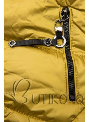 Mustard lesklá zimná bunda