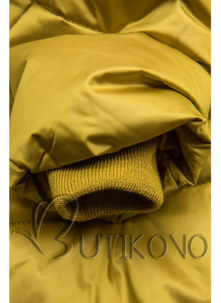 Mustard lesklá prešívaná bunda na zimu