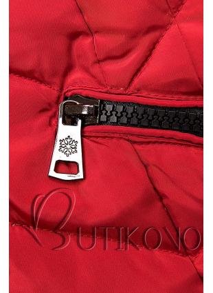 Červená dlhá prešívaná bunda