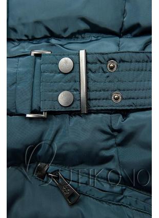 Modrozelená bunda s odopínateľnou kapucňou
