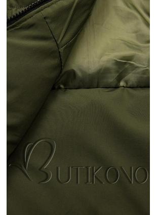 Khaki prešívaná bunda na zimu