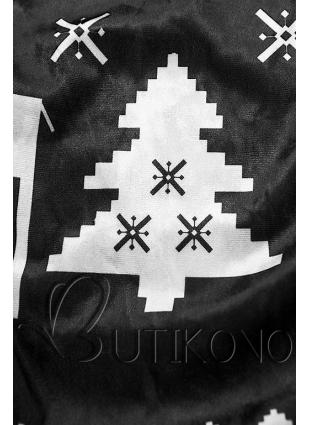 Čierne zamatové šaty so zimným motívom