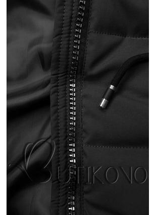 Čierna prešívaná bunda s kapucňou