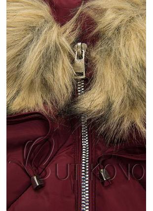 Bordová zimná bunda s brmbolcami