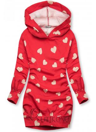 Červené mikinové šaty so srdiečkami