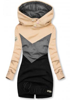 Mikina s obliekaním cez hlavu béžová/sivá/čierna