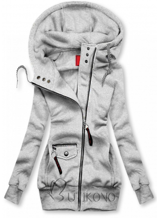 Sivá mikina na zips
