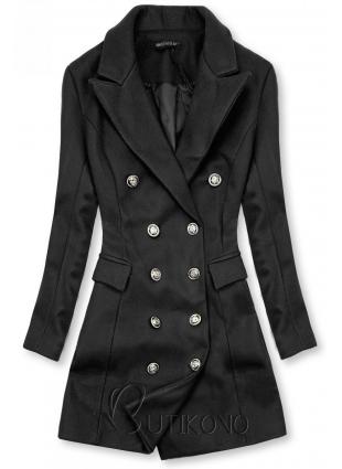 Elegantný jesenný kabát čierny
