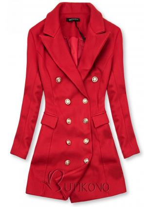 Elegantný jesenný kabát červený
