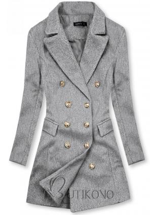 Elegantný jesenný kabát melírovaný sivý