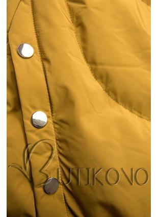 Žltá zimná bunda so strieborným lemom