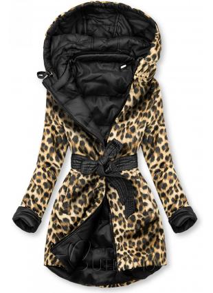 Obojstranná bunda čierna/leopardí vzor