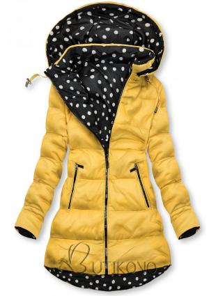 Obojstranná bunda žltá/bodkovaná