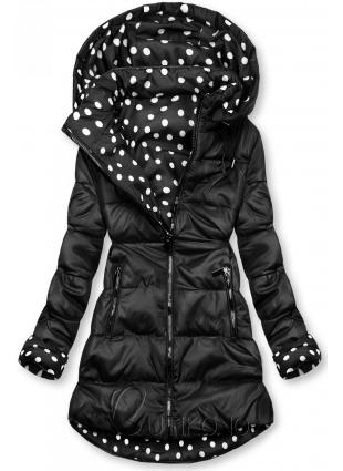 Obojstranná bunda čierna/bodkovaná